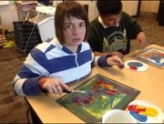 Student in Aimee Palmer's painting class